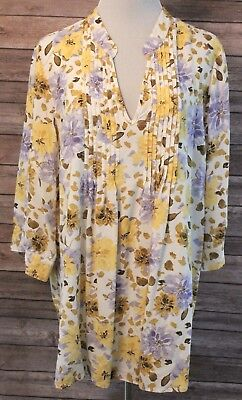Coldwater Creek 3X Top Yellow Cream Purple Floral Print Blouse