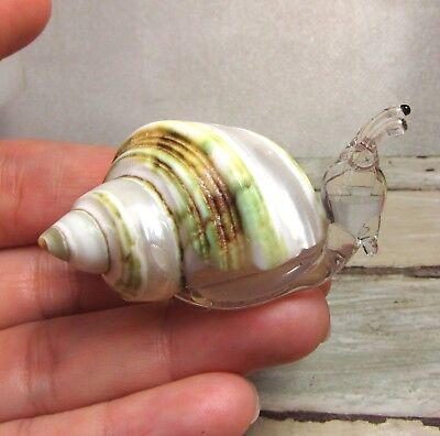 SNAIL figurine handmade blown ART GLASS miniature - GIFT - Real SEA SHELL