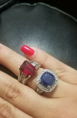 sterling silver niassa Ruby Sapphire cocktail ring set of 2 size 8 stunning!!!!