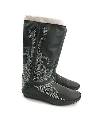 c91362cf2d0 PUMA Womens Black gray Leather Embroidered Elastic Monsoon Snow Boots Size  7.5 W