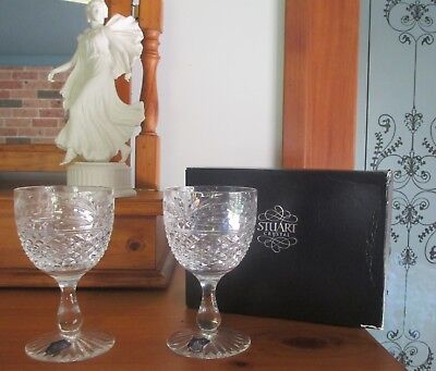 STUART CRYSTAL ~ Sherbourne ~ Pair Wine Glasses ~ Never Used ~ Boxed