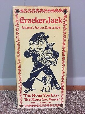 "Vintage  CRACKER JACK Heavy Metal Sign 6""x 12"""