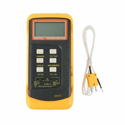 6802 II Dual Channel Digital Thermometer 2 K-Type Thermocouple Sensor Probe PT