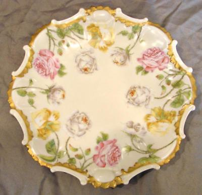 "Limoges 8.5"" Plate Gorgeous Roses Pink, Yellow & White"
