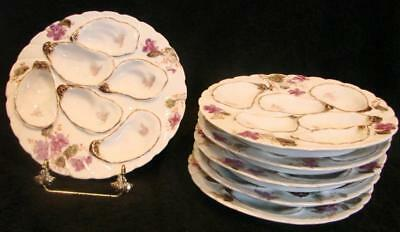 French Haviland Limoges Set 6 Oyster Plates w 6 Wells Purple Poppies c 1887