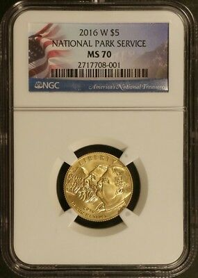 2016-W 100th Anniversary National Park Service $5 Gold NGC MS70