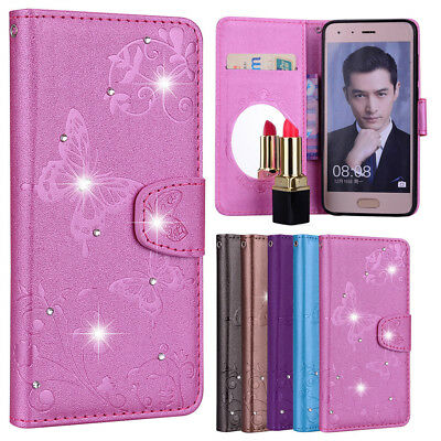 Bling Diamond Mirror Case Wallet Flip Folio KickStand Cover for Huawei honor 9