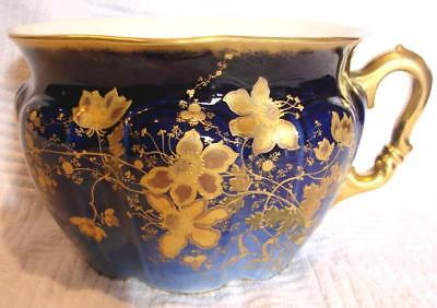 French Limoges Commode Chamber Pot Cobalt Gold Flowers c 1882 - 1896
