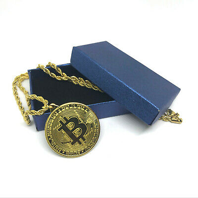 New Bitcoin Gold Plated Physical Coin Convertible Necklace with Gift Box