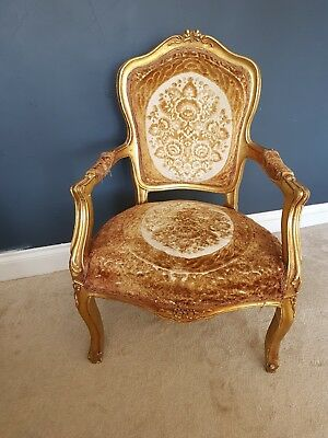 Antique Gilt Louis XVI French Carved Arm Chair Victorian 19th Century