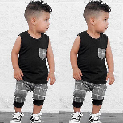 2PCS Toddler Kids Baby Boy Summer Clothes T-shirt Tops+Pants Shorts Outfits Set