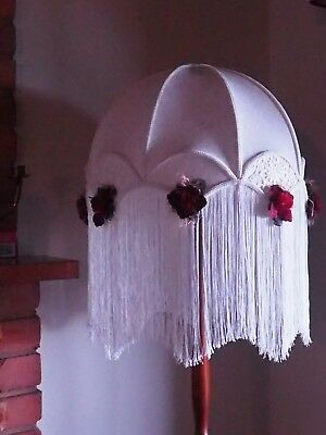 Lamp Shade for Standard Lamp. Cream material and Lace with Maroon flowers.