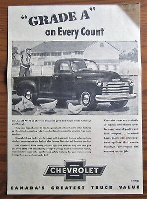 1949 Canadian Chevy Chevrolet Truck Ad  Newspaper Pickup Farmer Chickens Canada