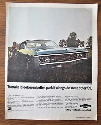Stunning 1969 Canadian Chevrolet Chevy Car Ad Impala Custom Coupe