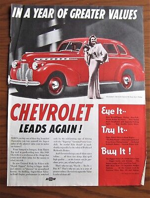 1940 Canadian Chevrolet Chevy Car Ad Special Deluxe Sport Sedan Pretty Woman