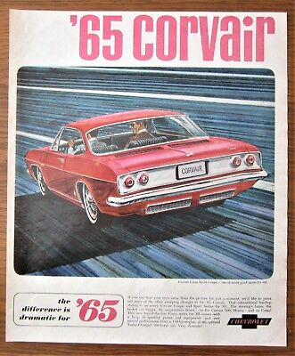 1965 Canadian Chevrolet Chevy Car Ad Corvair Corsa Sport Coupe Canada
