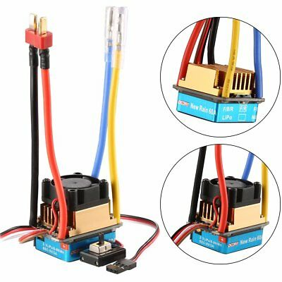 Waterproof Brushed ESC 60A 3S Electronic Speed Controller with Fan For RC Car
