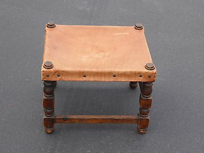 Vintage Rustic Spanish Style Tan Leather STOOL Ottoman w Decorative Nails Clavos
