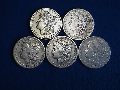 Lot of 5 Coins 1878-1904 Morgan Silver Dollars F-VF Mix Dates