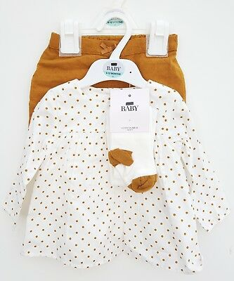 NEW EX M&S Baby Girls Outfit Set Top Shorts Tights Mustard. Age 0 - 12m  RRP £24