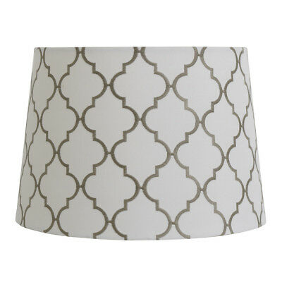 ALLEN ROTH WHITE Gray Embroidery Fabric Drum Lamp Shade Spider ...