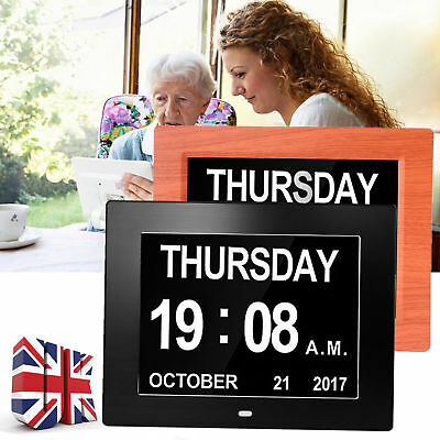 8'' LED Dementia Digital Calendar Day Clock Large Letter Week/Month/Year Gift UK
