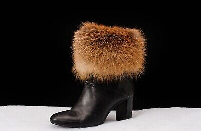 Genuine Real Fur Handmade Boot Cuffs Toppers Leg Warmers + detachable POM POM