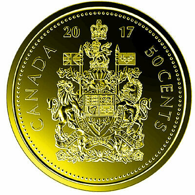 2017 Canadian Classic 50 Cents Plated Gold 24k UNC