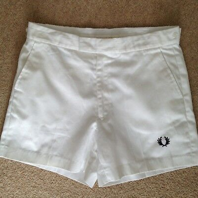 """Mens Vintage 1980s White Fred Perry Tennis/Sports Shorts 32"""" Waist"""