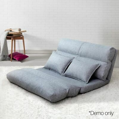 Lounge Sofa Bed Adjustable 5 positions Floor Couch Foldable Comfy Guest Bed Grey