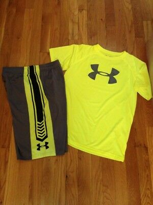 Under Armour Boys Ylg L Large Shirt & Shorts Set Lot Gray Velocity Neon Yellow