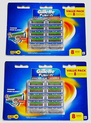 2 X Gillette Fusion Proglide Power Pack of 8 Cartridges ( 16 Shaving Blades)