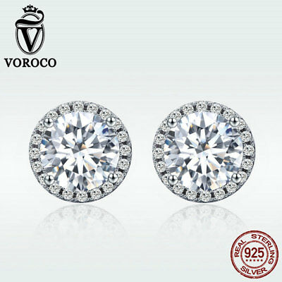 Voroco Goddess 925 Sterling Silver Stud Earrings With Crystal CZ Fashion Jewelry