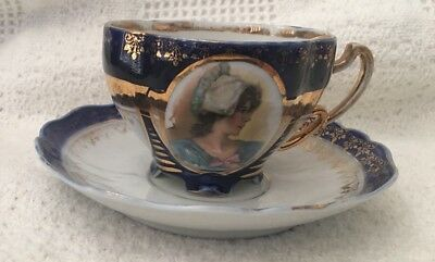 Beehive Tea Cup And Saucer Moustache Mustache Teacup Cameo Maidens Gold Gilt
