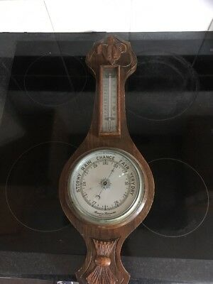 Antique Barometer Nicely Carved  23 Inches Tall Fleur De Leys