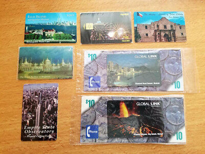 Seven Scenic Sights Limited Edition Souvenir Phone Cards, New/Used