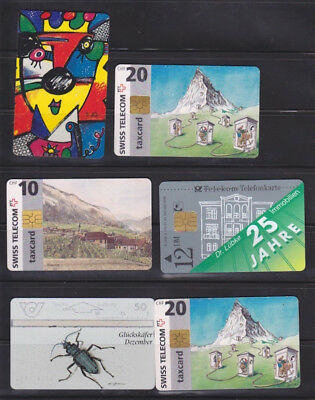 Six Assorted Collectible European Phone Cards: Switzerland, Germany, Austria
