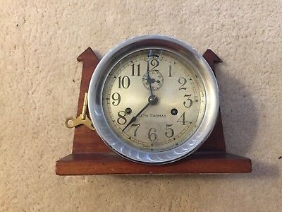 Vintage Seth Thomas Ship's Bell Clock with Wooden Stand
