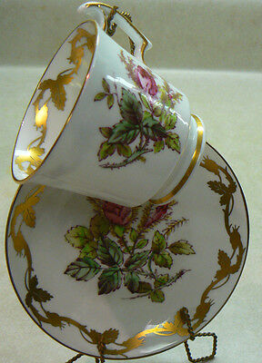 """Moss Rose Cup & Saucer gold vine trim #390A Royal Chelsea 2.5"""" tall x 2 7/8"""" vtg"""