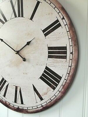 EXTRA LARGE 60cm ANTIQUE VINTAGE STYLE WALL CLOCK RETRO SHABBY CHIC NEW BOXED