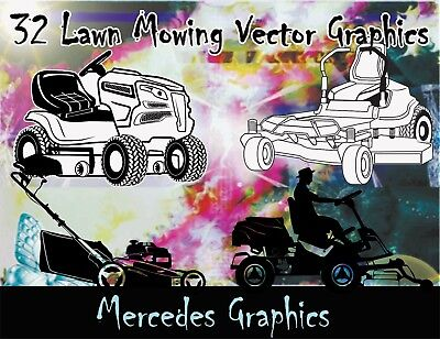 32 Lawn Mowing Vector Clipart