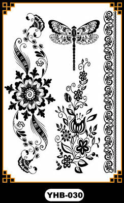 Black Dragonfly bracelet Henna Lace Body Hand Hair Stencil Temporary Tattoo