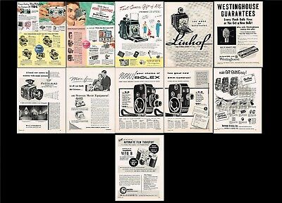 """11 Vintage1954  Full Page Camera Ads 8"""" x 11 1/2"""" - 8 B& W1954 Ads - 3 Color"""