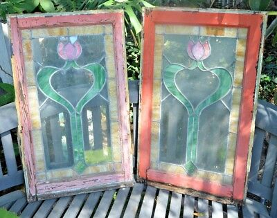 "LARGE OLD ENGLISH LEADED STAINED GLASS WINDOW  Design 29"" x 18"" 2 AVAIL"