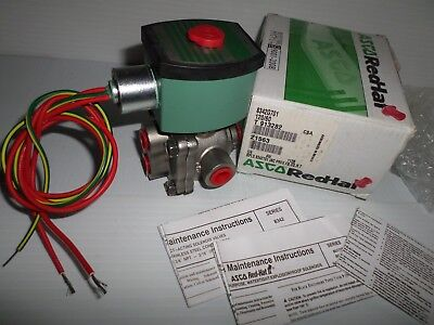 "*NEW IN BOX* ASCO 8342G701 4-Way 1/4"" STAINLESS STEEL SOLENOID VALVE 120Vac"