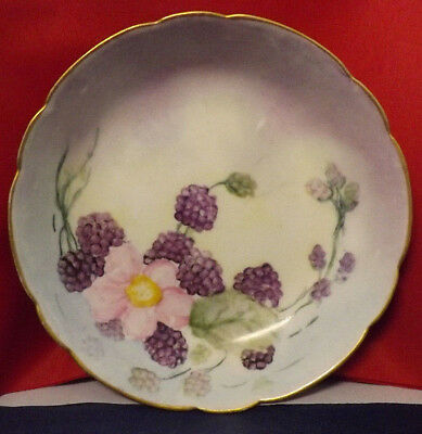 "Gerard Dufraisseix & Abbot (GDA) France 5"" Coup-Style Plate. Black Berry Floral"