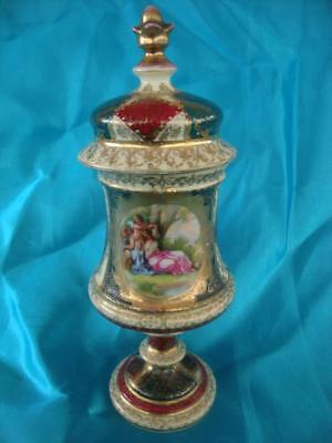 Fine Antique Royal Vienna Bohemian Porcelain Lidded Urn / Vase.