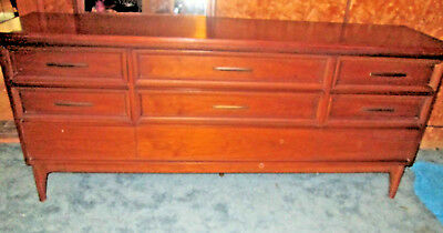 Mid Century Modern Dixie Triple Dresser and Mirror