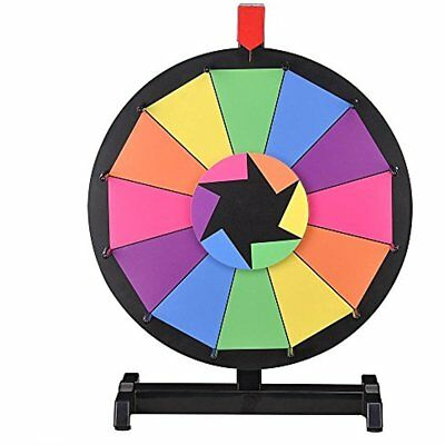 """15"""" Tabletop Editable Color Prize Wheel 12 Slot Spinning Game W/ Dry Erase"""