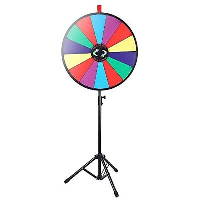 "24"" Color Prize Wheel Fortune W Folding Tripod Floor Stand Carnival Spinnig Game"